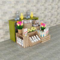 化妆品展示柜组合超市陈列展示货架铁木结合货架批发价