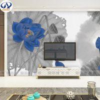 沙发电视背景墙纸无缝大型壁画8D5D立体酒店简约中式水墨蓝色荷花