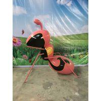 卡通彩绘蚂蚁昆虫户外玻璃钢雕塑彩绘蚂蚁 商场广场美陈大型创意装饰摆件