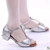 三莎儿童舞蹈鞋 女童拉丁舞练功鞋跳舞鞋 银灰色亮革系带女凉鞋
