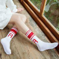 长筒袜子女 韩版字母运动袜原宿学生全棉女袜条杠中筒棒球袜学院