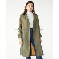 外贸服装厂欧美翻领腰带拼接中长款纯色外套上衣