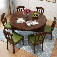 美式实木餐桌椅组合小户型餐厅圆桌折叠可伸缩多功能家具吃饭桌子
