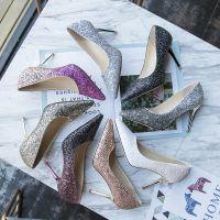 3313-1韩版时尚尖头浅口高跟鞋夜店性感女单鞋亮片渐变色细跟女鞋