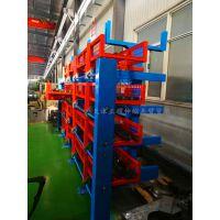 济南双悬臂货架 伸缩式管材货架特点 专业放钢材 节约空间