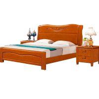 南康厂家直销实木双人床1.8米和1.5米橡胶木床中式带床头柜卧室家具