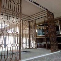 不锈钢屏风隔断现代简约欧式酒店客厅花格镂空雕花玫瑰金金属玄关