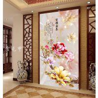 霍元甲瓷砖 现代简约高清客厅背景墙花开富贵彩雕牡丹花唯美