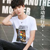 夏季韩版日系男士T恤男短袖圆领修身体恤半袖衣服男装打底衫潮流