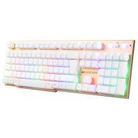米蟹X600机械手感7色彩虹混光键盘背光lol金属板LOl电竞游戏键盘