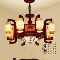 中式陶瓷仿古吊灯客厅灯仿古木艺吊灯古典五彩镂空灯具木雕灯批发