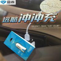 蓝雨汽车车载充电器一拖二点烟器双USB头 手机平板通用型12v 24v