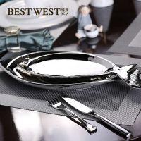 创意陶瓷镀银鱼盘 西式咖啡厅餐厅鱼形托盘餐盘餐桌摆件