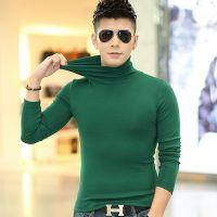 男士紧身莫代尔高领长袖t恤男装修身打底衫秋季体恤韩版上衣服血