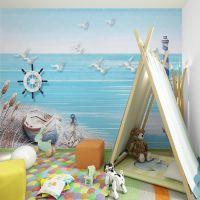 大型壁画3d地中海风格手绘蓝色壁纸客厅电视沙发卧室背景墙纸工厂