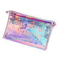 幻彩镭射彩虹化妆包透明大容量防水手拿包新款PVC创意便捷洗漱包