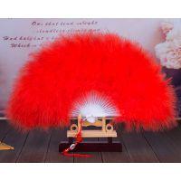 包邮玫标准全绒加厚舞蹈扇白色羽绒扇红色羽毛扇子50乘30的大小