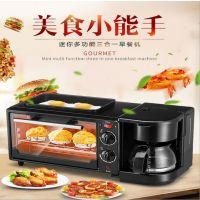 OEM多功能家用早餐机三合一烤面包机4片多士炉电烤箱早餐机一件代发