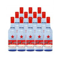 红星二锅头蓝瓶八年陈酿绵柔53℃  500mL12瓶装高度白酒