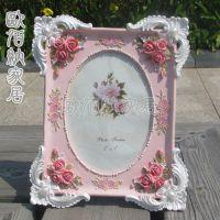 7吋粉色玫瑰花田园树脂工艺品欧式相架新奇特婚纱照影楼相框批发