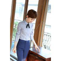 2017秋季小清新白领职业气质OL竖条纹长袖修身显瘦女式衬衫