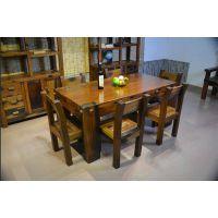 实木家具餐厅吃饭桌两用桌长方形餐桌椅组合古船木餐桌