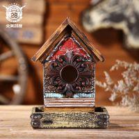 树脂工艺品房子鸟屋挂饰 创意客厅户外壁挂复古风手工艺品批发