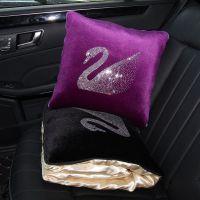 汽车抱枕被子两用天鹅个性车载车内靠垫护腰车用腰靠枕头被空调被