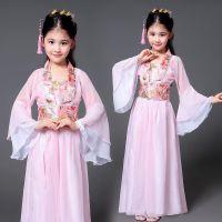 节日女童古装生日套装淑女裙香妃淡雅宫廷黄色演出服拍照道具白娘