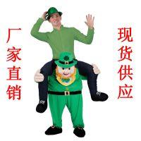 小绿人妖精背人绿精灵背人魔性裤子圣帕特里克节派对动物背人裤子