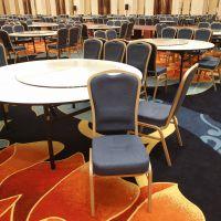 台州星级酒店宴会厅餐桌椅 婚礼铝合金宴会椅坐垫加厚餐椅