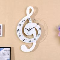 音符创意挂钟客厅现代时尚静音装饰家用钟表墙壁挂表木质时钟简约