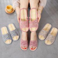 代发新款夏季情侣竹席拖鞋居家室内木地板休闲防滑透气亚麻凉拖