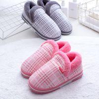 2018冬季新款包跟棉鞋居家侧缝格子纹保暖家居鞋厚底棉拖鞋包跟