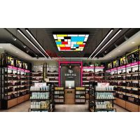 武汉2018铁木结合贴皮纹路高档化妆品专卖店展柜设计制作工厂