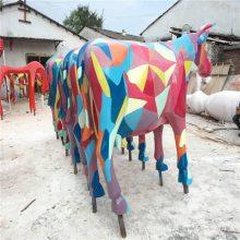 清远玻璃钢动物雕塑制造,广场公园绿地彩牛动物雕塑摆件