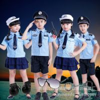 新款儿童军装特警演出服幼儿园舞台摄影小警察制服男女衣服表演服