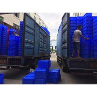 广州乔丰塑料周转箱,深圳5号塑胶方盘,罗岗蓝色带盖HDPE塑胶盒