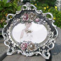 6吋混批玫瑰花婚纱影楼田园树脂欧式相框相架外贸尾单相框批发