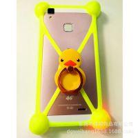 广州工厂定做批发通用型手机壳万能硅胶圈手机套带支架卡通手机壳