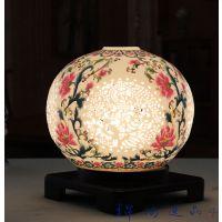 中式仿古实木陶瓷灯简约现代大气创意别墅餐厅客厅圆形灯具小台灯