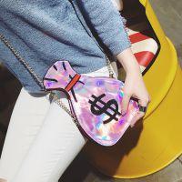 批发夏季韩版新款创意钱袋形状个性刺绣镭射斜跨包小包链条女包