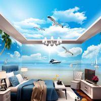 大型唯美蓝天白云海滩主题空间卧室客厅全屋电视背景墙纸壁画
