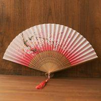 小粉色古代绢扇折叠扇子便携古风古装金色可爱工艺跳舞扇家用舞台