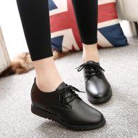 全黑色工作鞋内系带皮鞋女平跟平底单鞋休闲运动鞋百搭上班鞋