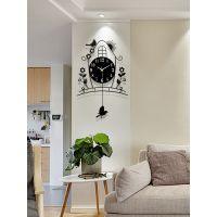 钟表时钟客厅创意简约欧式现代田园挂钟挂表卧室静音夜光石英钟大