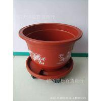 批发 花盆托盘万向轮 树脂红色圆形加厚塑料移动花盆底座 带滚轮