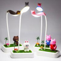 新款led充电台灯创意微景观氛围小夜灯卡通儿童宿舍床头书桌台灯