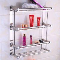 卫生间毛巾架不锈钢免壁挂浴室置物架2层3层打孔三层厕所卫浴挂件
