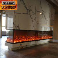 厂家直销3.6米四面玻璃面框 酒店专用观赏电子壁炉仿真壁炉